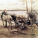 at the ferry. 1905, Valentin Serov