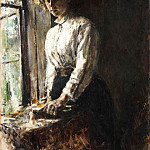 the window. Portrait of O. Trubnikov. 1886, Valentin Serov