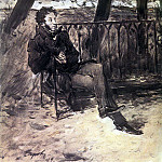 A. Pushkin on a garden bench. 1899, Valentin Serov