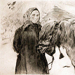 old woman with a horse. 1899, Valentin Serov