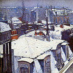 Snow covered roofs in Paris , Gustave Caillebotte