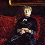 Woman Sitting on a Red-Flowered Sofa – 1882, Gustave Caillebotte