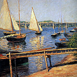 Sailing boats at Argentueil , Gustave Caillebotte