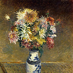 Chrysanthemums in a Vase – 1893, Gustave Caillebotte
