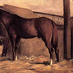 Yerres, Reddish Bay Horse in the Stable, Gustave Caillebotte
