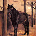 Yerres, Dark Bay Horse in the Stable, Gustave Caillebotte