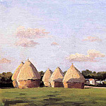 Harvest, Landscape with Five Haystacks, Gustave Caillebotte