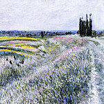 The Plain at Gennevilliers, Group of Poplars – 1883, Gustave Caillebotte