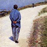 Man in a Smock aka Father Magloire on the Road between Saint Clair and Etreta, Gustave Caillebotte