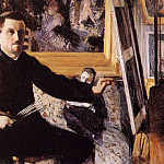 Гюстав Кайботт - Self Portrait with Easel - 1879 - 1880