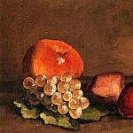 Peaches, Apples and Grapes on a Vine Leaf, Gustave Caillebotte