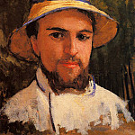 Gustave Caillebotte - Self Portrait (fragment) (also known as Self Portrait Wearing a Summer Hat)