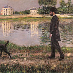 Richard Gallo and His Dog at Petit Gennevilliers – 1884, Gustave Caillebotte