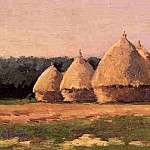 Гюстав Кайботт - Landscape with Haystacks - 1874