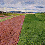 Landscape – Study in Yellow and Rose – 1884, Gustave Caillebotte