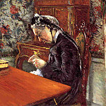 Portrait of Madame Boissiere Knitting – 1877, Gustave Caillebotte