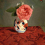 Garden Rose and Blue Forget-Me-Nots in a Vase, Gustave Caillebotte