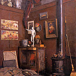 Interior of a Studio with Stove, Gustave Caillebotte