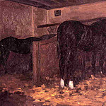 Horses in the Stable – 1874, Gustave Caillebotte