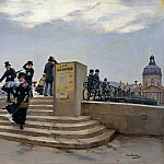 A Windy Day on the Pont des Arts, Jean Beraud