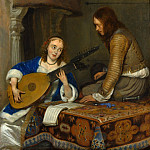 Metropolitan Museum: part 1 - Gerard ter Borch - A Woman Playing the Theorbo-Lute and a Cavalier