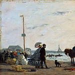 On the Beach at Trouville, Eugene Boudin
