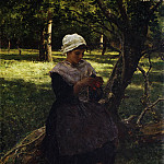 A Peasant Girl Knitting, Jules Breton