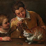 Two Children Teasing a Cat, Annibale Carracci