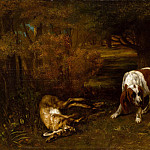 Hunting Dogs with Dead Hare, Gustave Courbet
