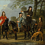 Equestrian Portrait of Cornelis () and Michiel Pompe van Meerdervoort (1638–1653) with Their Tutor and Coachman (Starting for the Hunt), Aelbert Cuyp