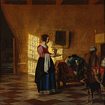 Woman with a Water Pitcher, and a Man by a Bed (The Maidservant), Pieter de Hooch