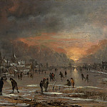 Aert van der Neer – Sports on a Frozen River, Metropolitan Museum: part 1