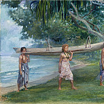 Girls Carrying a Canoe, Vaiala in Samoa, John La Farge