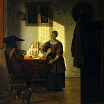 A Couple Playing Cards, with a Serving Woman, Pieter de Hooch