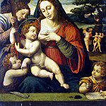 Joan de Hoanes. The Virgin and Child Jesus and Children by John the Baptist and John the Evangelist, part 13 Hermitage