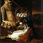 Hamilton, Philip Ferdinand. Still Life with whipped cocks and fox, part 13 Hermitage