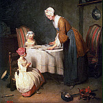 Chardin, Jean-Baptiste-Simeon. Prayer before dinner, part 13 Hermitage