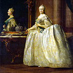 Eriksen, Virgilius. Portrait of Catherine II in front of a mirror, part 13 Hermitage