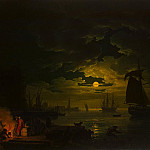Vernet, Claude Joseph – Entrance to the port of Palermo in the moonlight, part 03 Hermitage