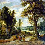 Vildens, Jan – Landscape with Christ and his disciples on the road to Emmaus, part 03 Hermitage