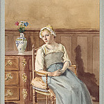 Vierling, AL – Interior with a woman sitting in a chair in national costume, part 03 Hermitage