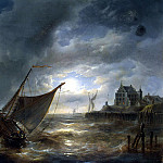 Verbukhoven, Charles Louis – Harbour at night, part 03 Hermitage