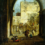 Guardi, Francesco – View of the square with the palace, part 03 Hermitage
