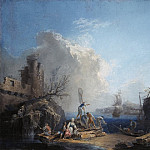 part 03 Hermitage - Volare, Pierre-Jacques, known as the Chevalier Volare - Seascape with fishermen on the rocky shore