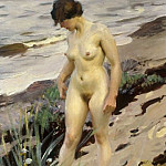 Stroll along the sandy shore, Anders Zorn
