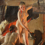 Women bathing in the sauna, Anders Zorn