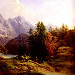 Swiss artists - Baumgartner H Woodsman And Family In An Alpine Landscape
