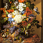 Zinnogger Leopold A Still Life With Flowers And Grapes, Swiss artists