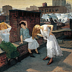 part 2 American painters - John Sloan (1871-1951) - Sunday, Women Drying Their Hair (1912 Addison Gallery of American Art)