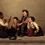 part 2 American painters - John George Brown (1831-1913) - The Card Trick (1880-89 Joslyn Art Museum)